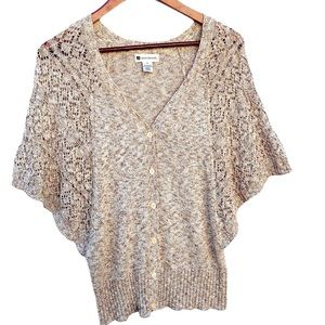 Valerie Bertinelli Batwing Sleeve Lacy Sweater S